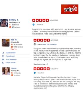 screenshot of Douglas Carroll Salon Yelp reviews