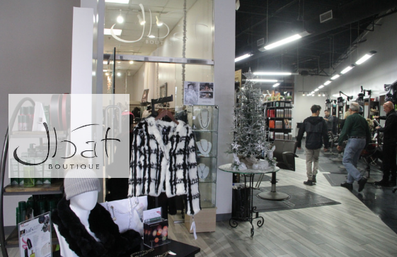 Entrance to Jbat Boutique - interior with logo